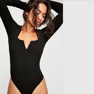 Free people long sleeve black Zoe v neck bodysuit